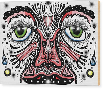 Wood Print featuring the digital art Doodle Face by Darren Cannell