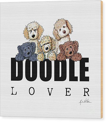 Doodle Lover Wood Print by Kim Niles