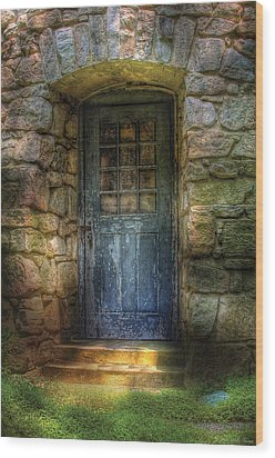 Door - A Rather Old Door Leading To Somewhere Wood Print by Mike Savad