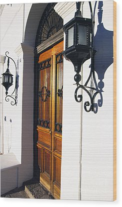 Door And Lamps Wood Print by Thomas R Fletcher