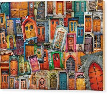 Door Collage Mashup Wood Print by TK Goforth