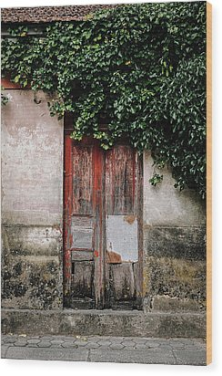 Wood Print featuring the photograph Door Covered With Ivy by Marco Oliveira