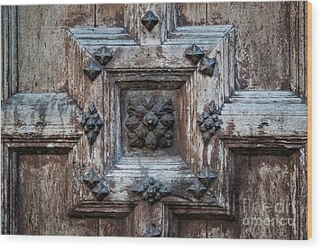 Wood Print featuring the photograph Door Fragment Of The Church Of The Jacobins by Elena Elisseeva