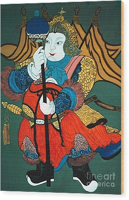 Wood Print featuring the painting Door Guard No.2 by Fei A