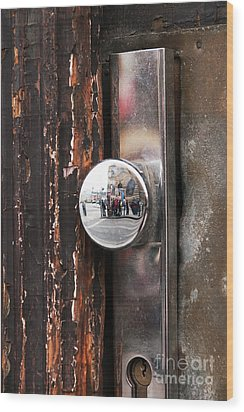 Door Reflections Wood Print by John Rizzuto