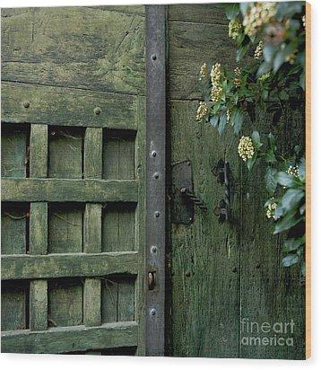 Door With Padlock Wood Print by Bernard Jaubert