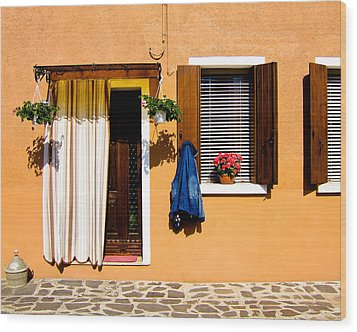 Doors And Windows IIi Burano Italy Wood Print by Carl Jackson