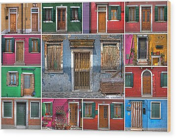 doors and windows of Burano - Venice Wood Print by Joana Kruse