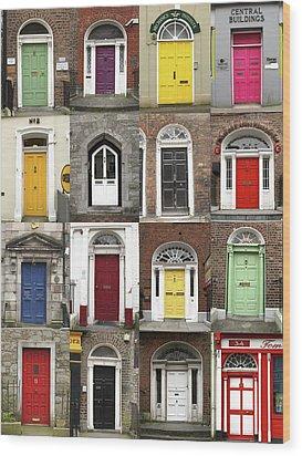Doors Of Limerick Wood Print by Marie Leslie