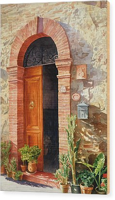 Doorway In Tuscany Number 2 Wood Print by Bob Nolin