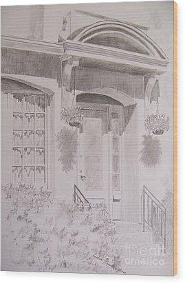 Wood Print featuring the drawing Doorway by Jackie Mueller-Jones