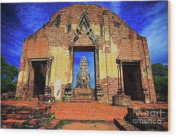 Doorway To Wat Ratburana In Ayutthaya, Thailand Wood Print
