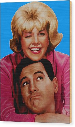 Wood Print featuring the mixed media Doris Day Rock Hudson  by Paul Van Scott