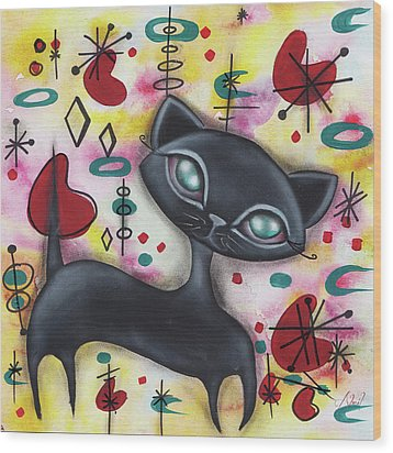 Dorothy Cat Wood Print by Abril Andrade Griffith
