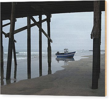 Dory Boat At Newport Beach Wood Print by Timothy Bulone