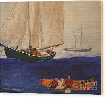 Dory Trawlers On Georges Bank Wood Print