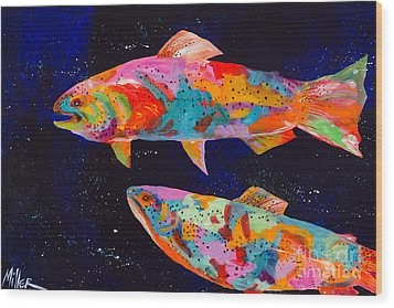 Dos Brown Trout Wood Print by Tracy Miller