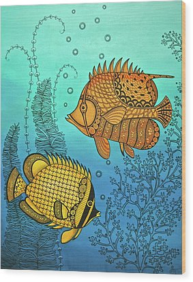 Dos Fishies Wood Print by Stephanie Troxell