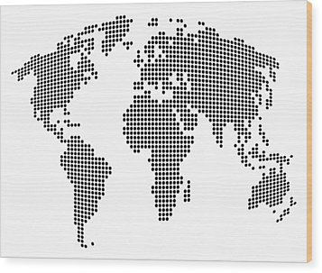 Dot Map Of The World - Black And White Wood Print by Michael Tompsett