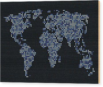 Dot Map Of The World - Blue Wood Print by Michael Tompsett
