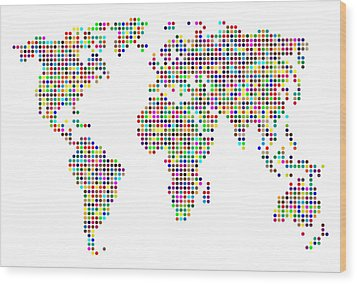 Dot Map Of The World - Colour On White Wood Print by Michael Tompsett