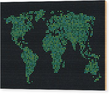 Dot Map Of The World - Green Wood Print by Michael Tompsett