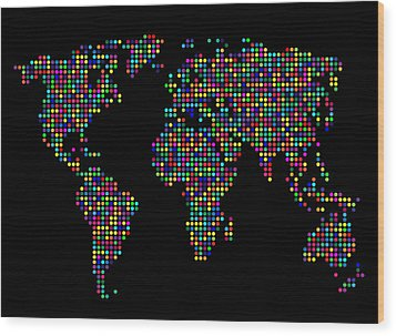Dot Map Of The World - Multi Colours Wood Print by Michael Tompsett