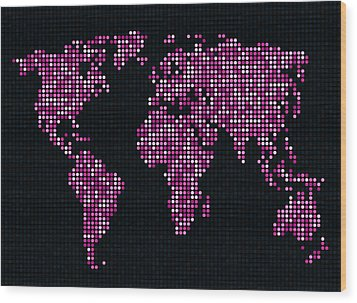 Dot Map Of The World - Pink Wood Print by Michael Tompsett