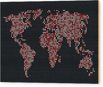 Dot Map Of The World - Red Wood Print by Michael Tompsett