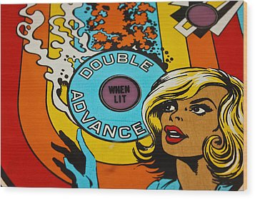 Double Advance - Pinball Wood Print by Colleen Kammerer