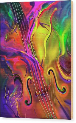 Wood Print featuring the painting Double Bass Solo by DC Langer