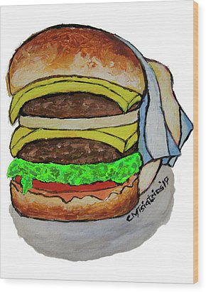 Double Cheeseburger Wood Print