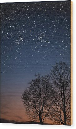 Double Cluster Sunset Wood Print