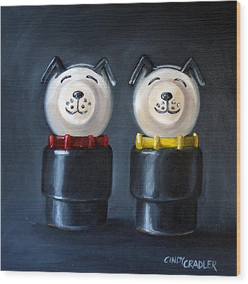 Double Dog Dare Wood Print by Cindy Cradler