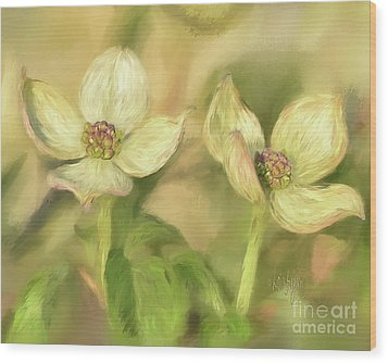 Double Dogwood Blossoms In Evening Light Wood Print by Lois Bryan