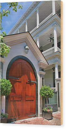 Double Door And Historic Home Wood Print by Steven Ainsworth