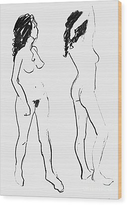 Double Nude Wood Print by Joanne Claxton