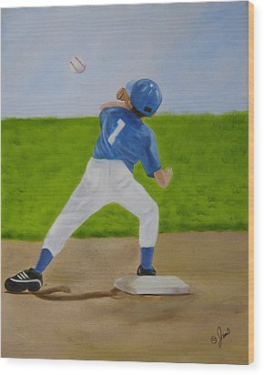Double Play Wood Print by Joni McPherson