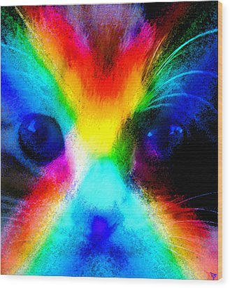 Wood Print featuring the painting Double Rainbow Cat by David Lee Thompson