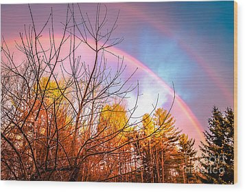 Double Rainbow-hdr Wood Print