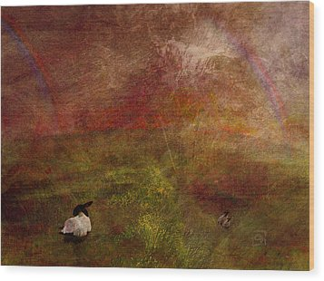 Wood Print featuring the digital art Double Rainbow by Jean Moore