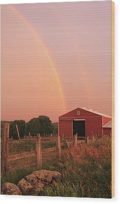 Double Rainbow Over Red Barn Wood Print by John Burk