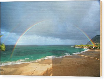 Double Rainbow Over Turtle Beach Wood Print