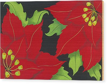 Double Red Poinsettias Wood Print by Carol Sabo