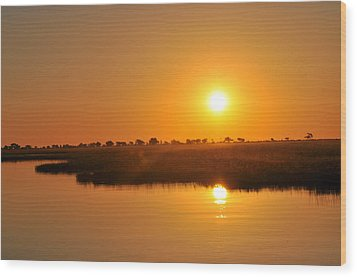 Double Sun Wood Print