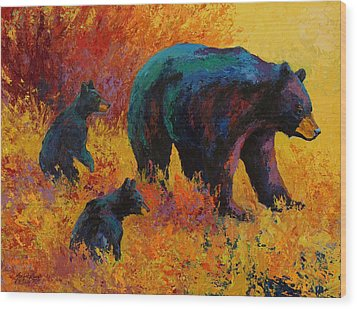Double Trouble - Black Bear Family Wood Print by Marion Rose