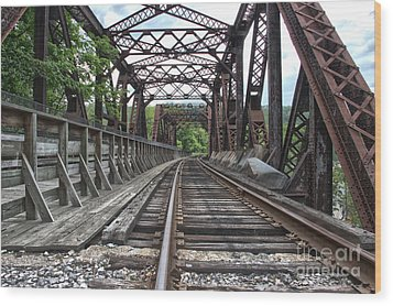 Double Truss Bridge #1679 On The Wmsr Wood Print by Jeannette Hunt