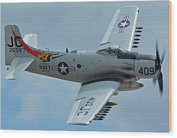 Douglas A-1d Skyraider Nx409z Chino California April 30 2016 Wood Print by Brian Lockett