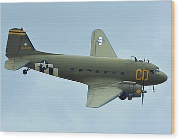 Douglas C-47b Dakota N47sj Betsy's Biscuit Bomber Chino California April 30 2016 Wood Print by Brian Lockett