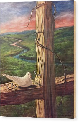 Wood Print featuring the painting Dove On A Cross  Paloma  En Una Druz by Randol Burns